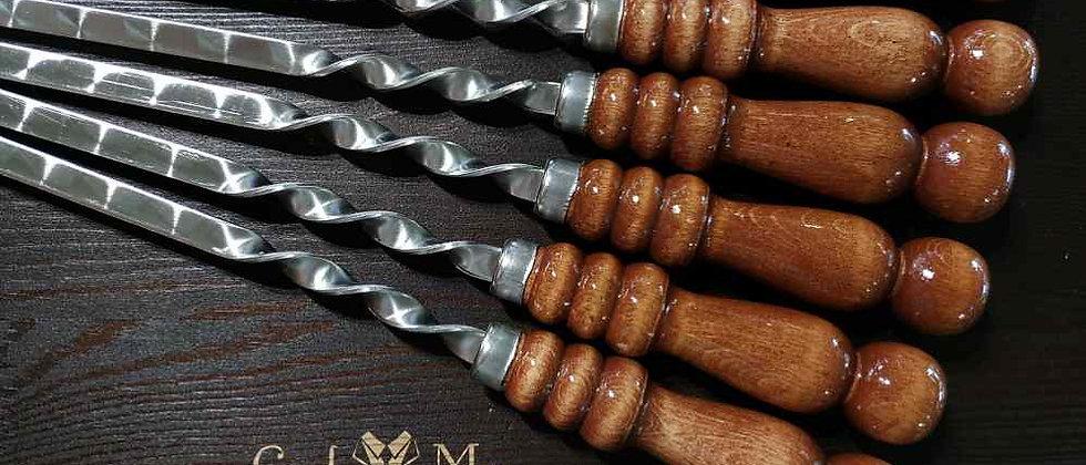 Шампур с деревянной ручкой, ширина 13 мм, длина 50 см