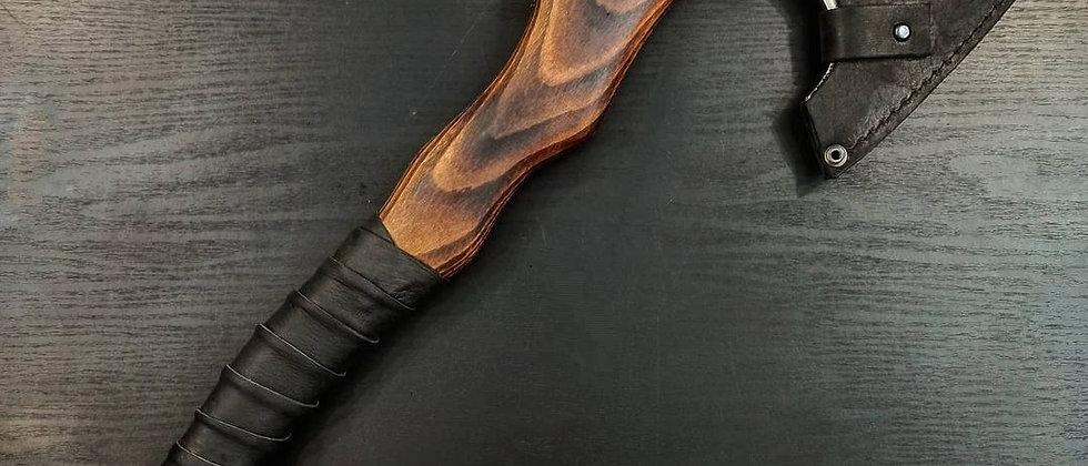 Топор ручной работы №5 (Сталь ХВГ, ясень, натуральная кожа) 46,5 см