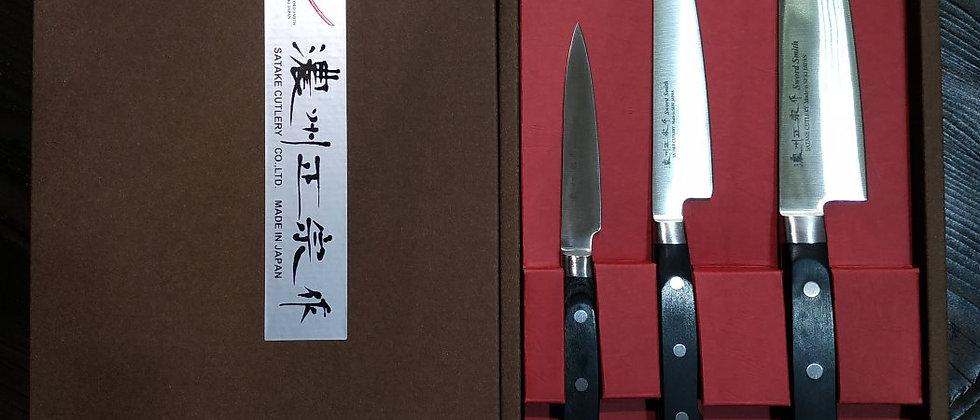 Набор подарочный SATAKE Stainless Bolster, 3 ножа