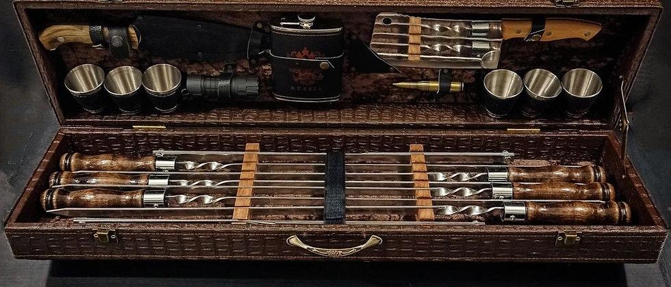Подарочный набор шашлычный №3 (большой) в коже