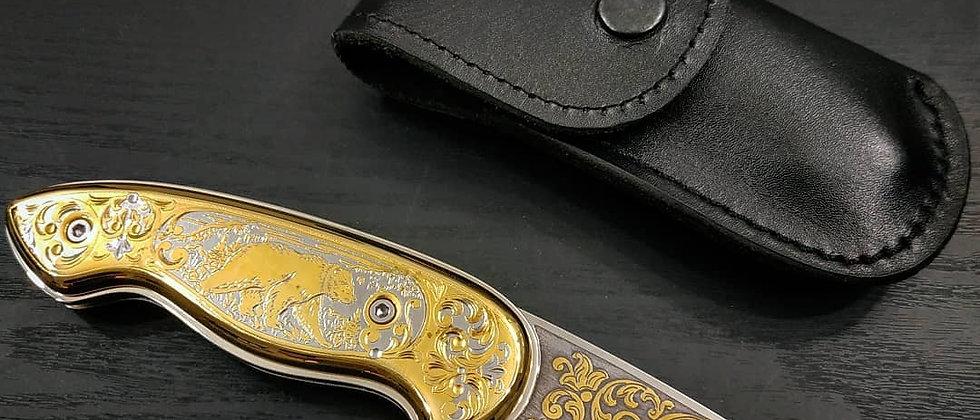 Автоматический складной нож украшенный золотом