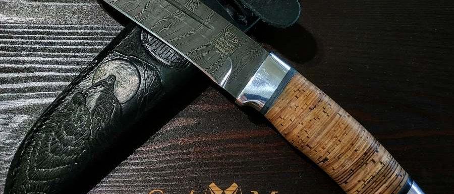 Нож Н-64 (ст. У-10А-7ХНМ) дамаск, дюраль, береста
