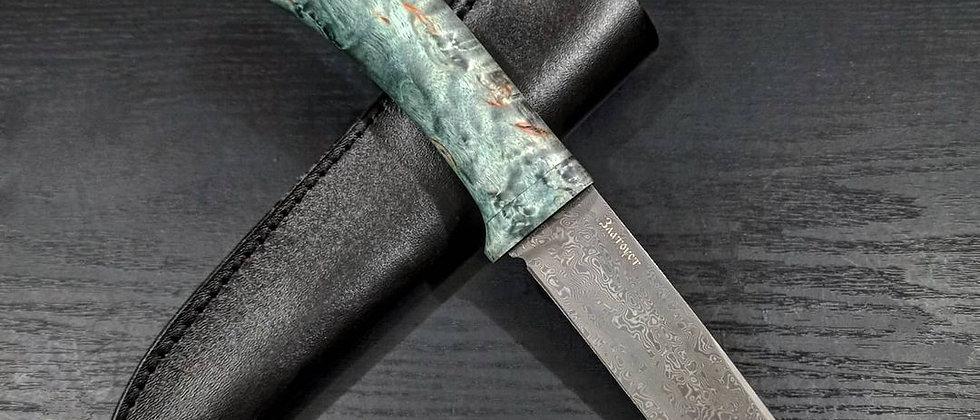 Нож НС-8 (ст. ELMAX, 300 слоёв, нерж. дамаск, карел. берёза) с гравировкой