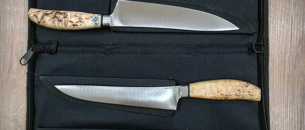 """Набор кухонных ножей """"Поварской-5"""", ст.95Х18, карельская береза, АиР"""