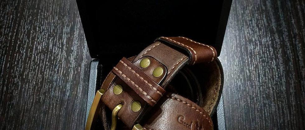 Ремень ручной работы №1 (тёмно-коричневый) в подарочной коробке