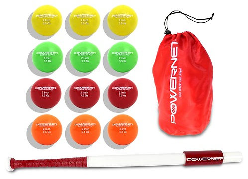 "PowerNet Sweet Spot Training Bat and 2"" Progressive Micro Ball 12 Pk Bundle"