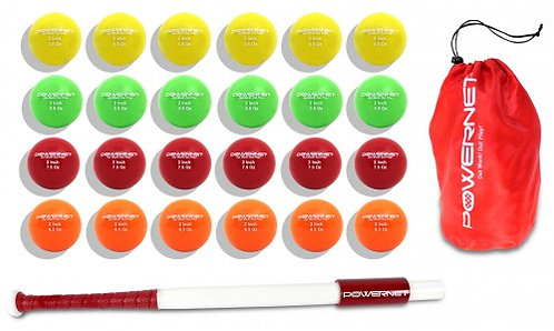 "PowerNet Sweet Spot Training Bat and 2"" Progressive Micro Ball 24 Pk Bundle"