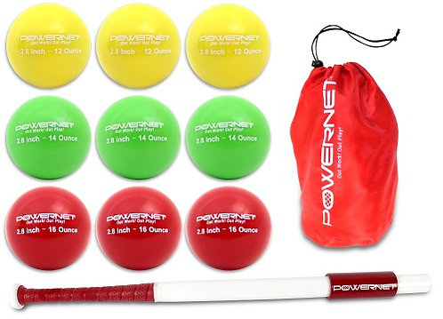 """PowerNet Sweet Spot Training Bat and 2.8"""" Progressive Weighted Ball (9 P"""