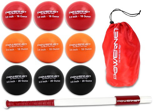 "PowerNet Sweet Spot Training Bat and 2.8"" Progressive Weighted Ball (9 Pack"