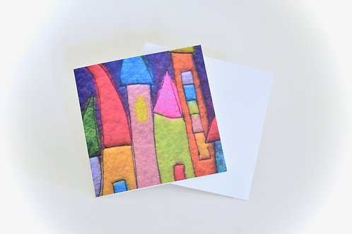 Fairy village artwork Mini Greeting Card