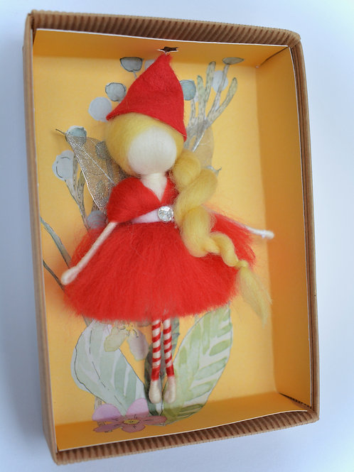 Christmas Wool Fairy- Red