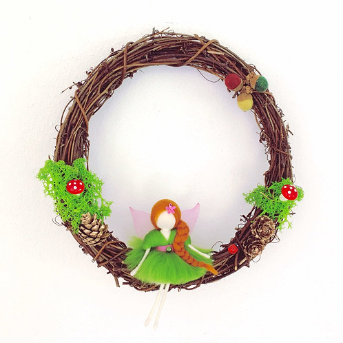 Fairy Wreath - Green Fairy on a swing