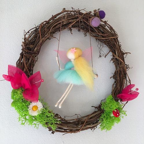 Fairy Wreath - Aqua blue Fairy on a swing