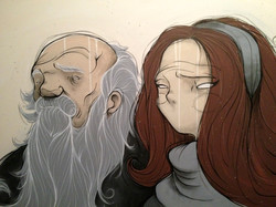 an old man and a girl