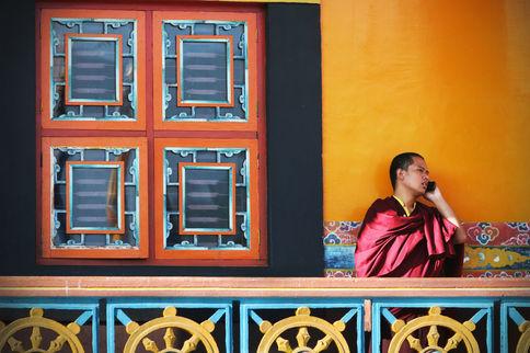EXTREMELY COLOURED MONK'S CALL Tashipalkhiel Tibetan Refugee settlement