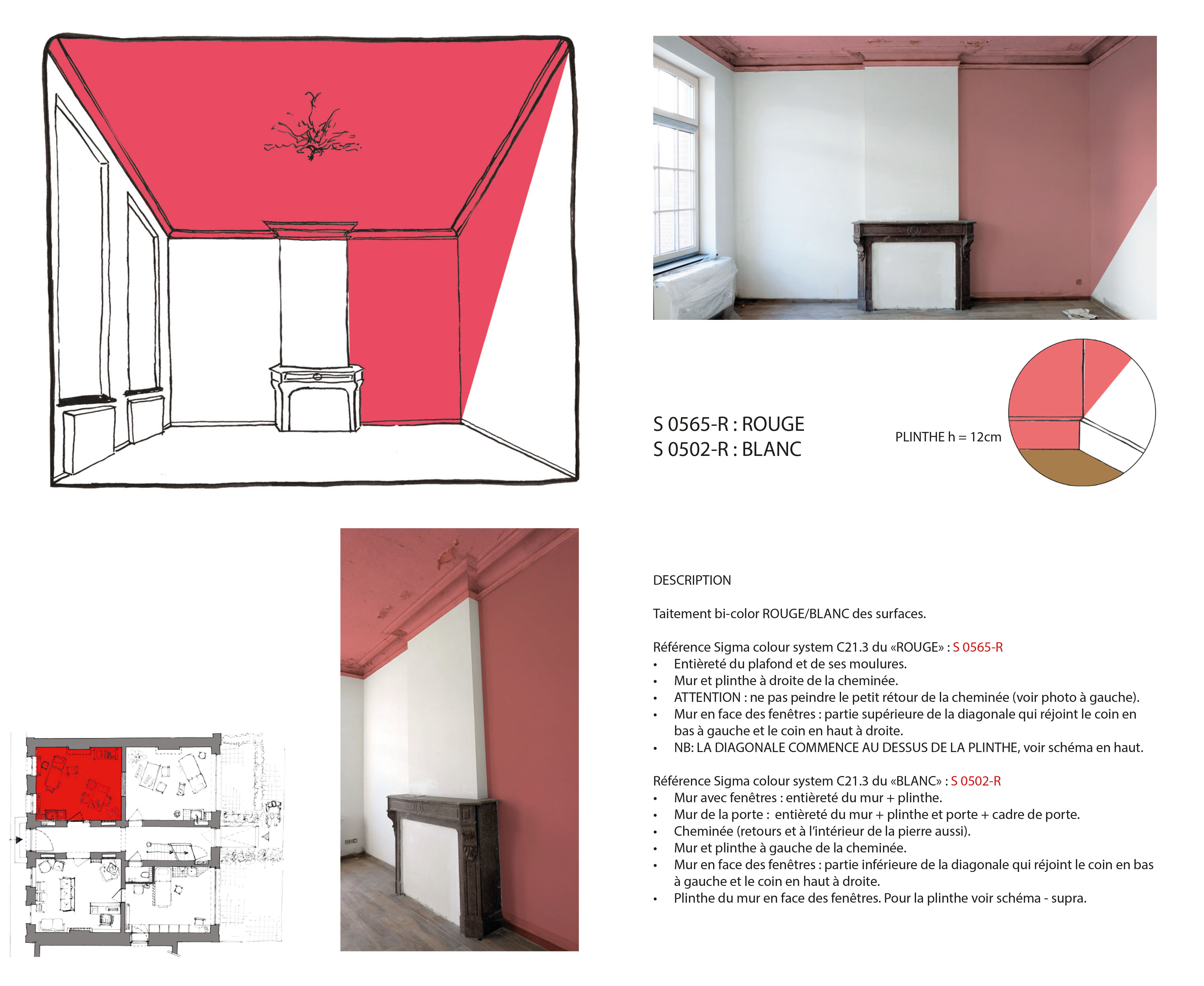 Cabinet rouge corail