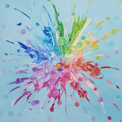 Gesa Stolting Festival of Colour (light blue) 90x90cm