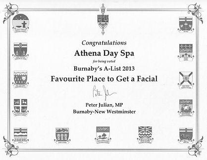 Burnaby's A List Facial Award