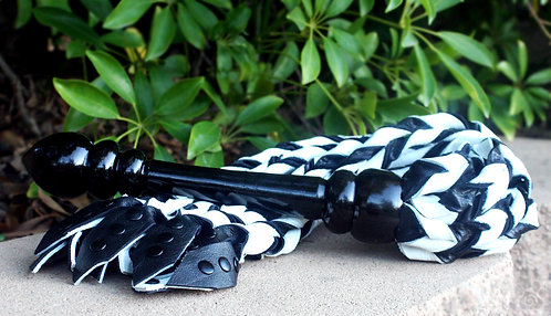 Black & White Woven Flogger w/ Ebony Handle