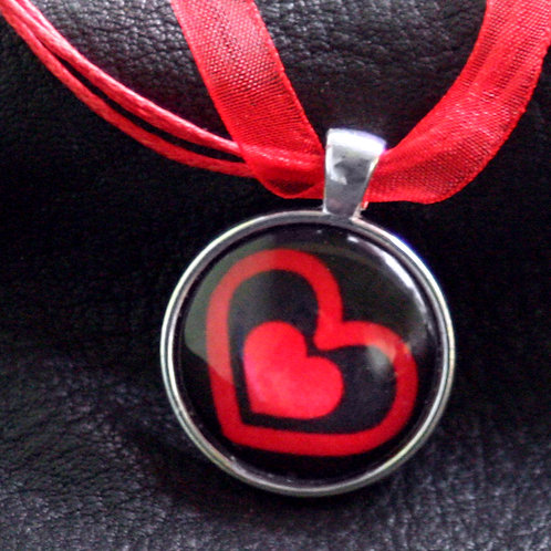 Red 'Hearts' Pendant w/ Ribbon Clasp