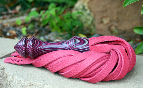 Vivid Pink & Purple Bullhide Flogger w/ Braided Tips