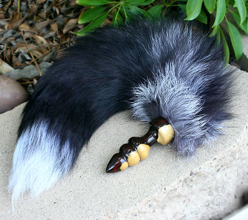 White Tipped Black Fox Tail w/ Cocobolo Plug