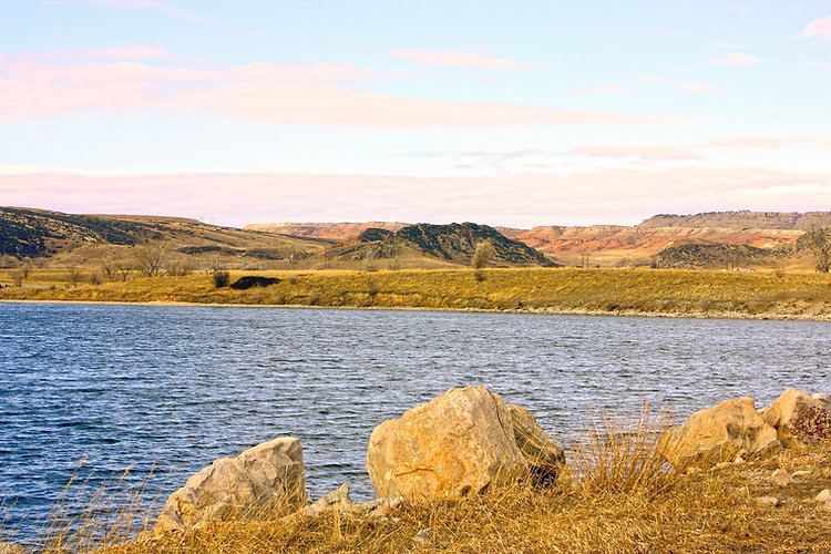 Red bluffs beyond Bighorn River