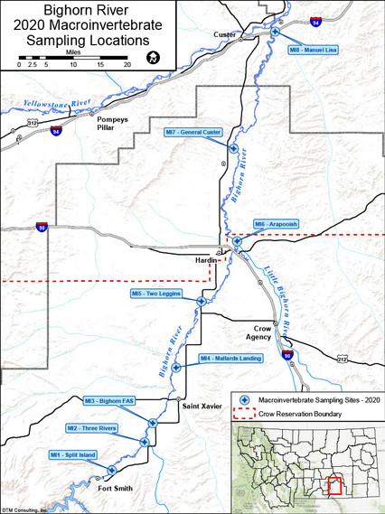 Figure 1: Bighorn River macroinvertebrate sampling sites (MI1-8; 4 sites had previous data) that will provide spatial representation of macroinvertebrate communities from Yellowtail Dam to the confluence.