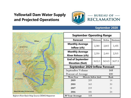 Yellowtail Dam September Operation Plans