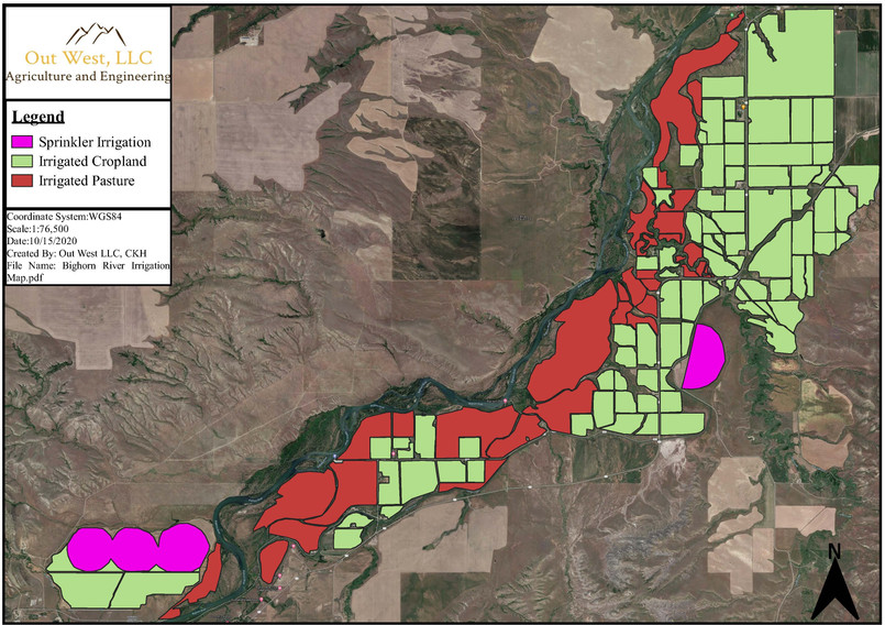 Figure 1: Map delineating the different types of irrigated acres adjacent to the first 13 miles of the Bighorn River. In most cases irrigated grasslands (red) are adjacent to the river which helps control sediment returns to the river. More can be done to reduce turbidity through continued conversion of flood irrigated land (green), into sprinkler irrigated acres (purple) with a joint effort to push through the obstacles that have held up development to date.