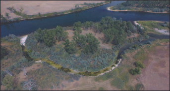 Figure 2: Rattlesnake Side Channel; flow direction is left to right. Rattlesnake Channel was selected for reactivation through excavation.