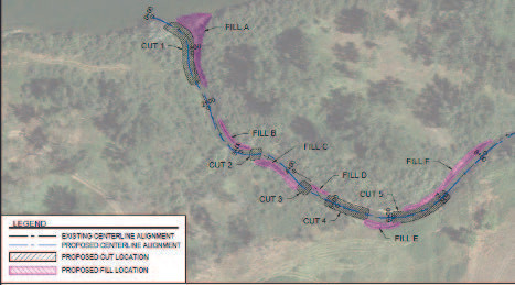 Figure 4: Proposed cut/fill on Rattlesnake Side Channel. Excavation will occur700 feet down the channel.