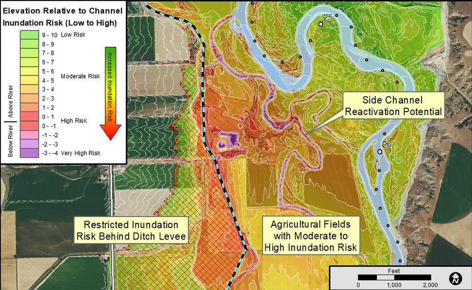 Figure 2: Mapping highlights areas prone to inundation. Areas behind infrastructure are highlighted as Restricted or potentially not subject to inundation.