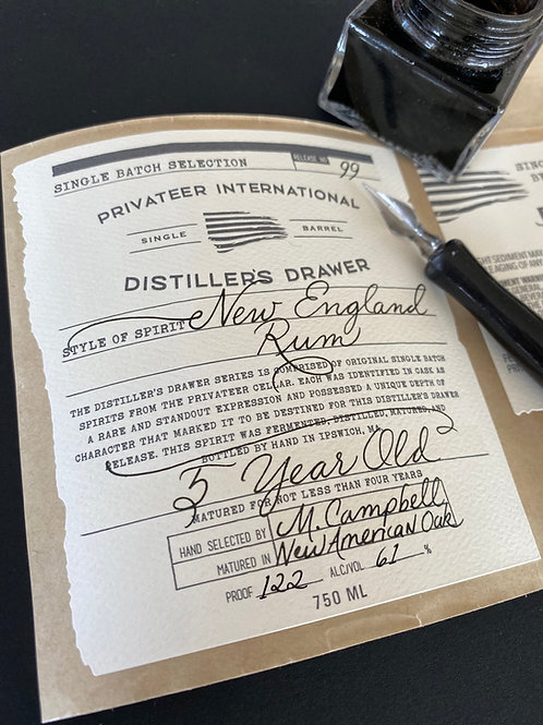Privateer Distillers Drawer 5 Yr Old New England Rum