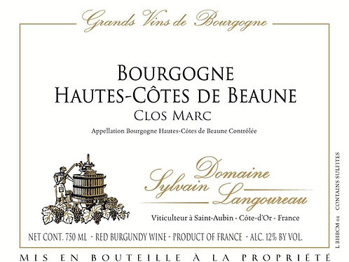 """Domaine Sylvain-Langoureau Bourgogne Rouge Hautes-Cotes de Beaune """"Clos Marc"""" 20"""