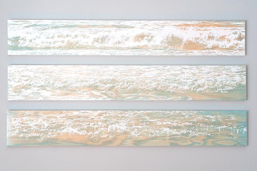 """SOLD / White Wash / 48""""x 24"""" / White Waves / Natural Oak"""