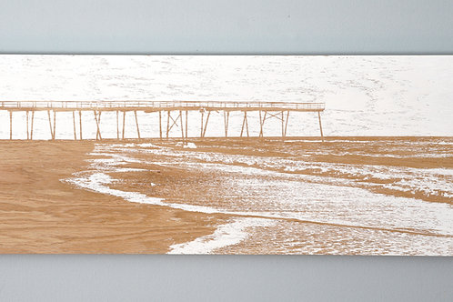 """SOLD / High Tide / 30"""" x 12""""/ Wrightsville Beach / Crystal Pier"""