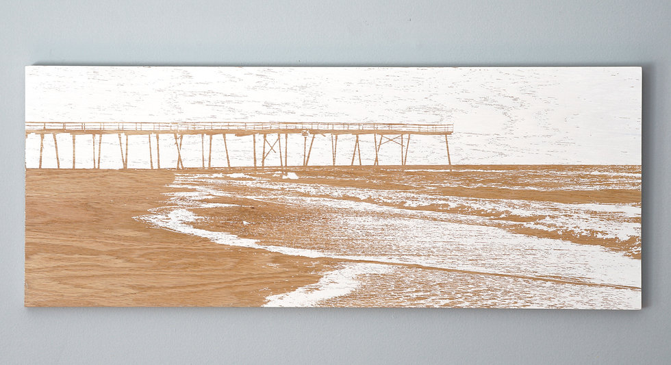 "SOLD / High Tide / 30"" x 12""/ Wrightsville Beach / Crystal Pier"