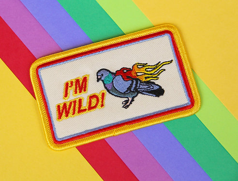 IM WILD Embroidered Flamin' Pigeon Patch