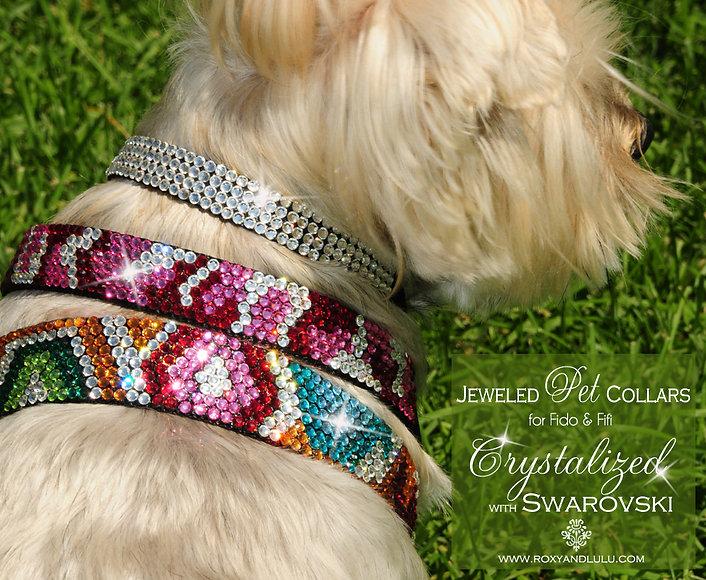 Roxy and LuLu - Urban Jungle Swarovski Dog collars