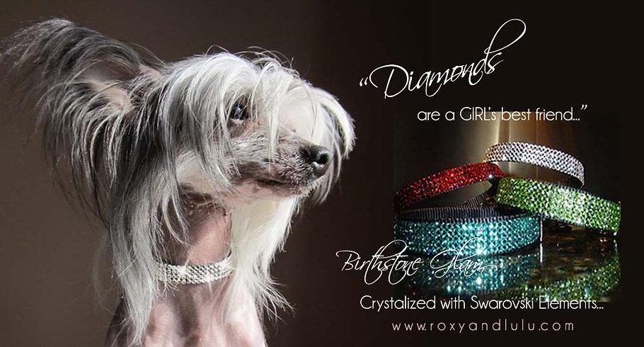 Roxy and LuLu - Birthstone Glam Swarovski Dog collars