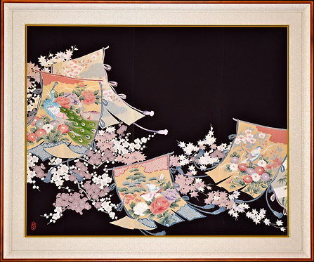 Hand Made Vintage Silk Kimono in Hand Crafted Frame