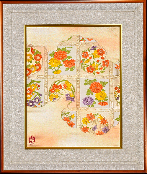 Hand Made Vintage Silk Obi in Hand Crafted Frame