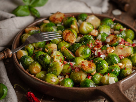 Roasted Brussels Sprouts with Shallots and Bacon