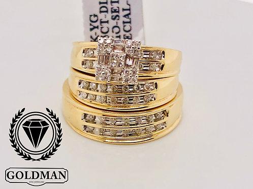 10K YELLOW GOLD 0.65CT DIAMOND TRIO SET