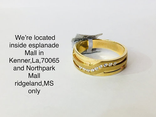 14K YELLOW GOLD WITH 0.15CT DIAMOND MALE BAND