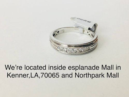 14K WHITE GOLD WITH 0.25CT DIAMOND MALE BAND