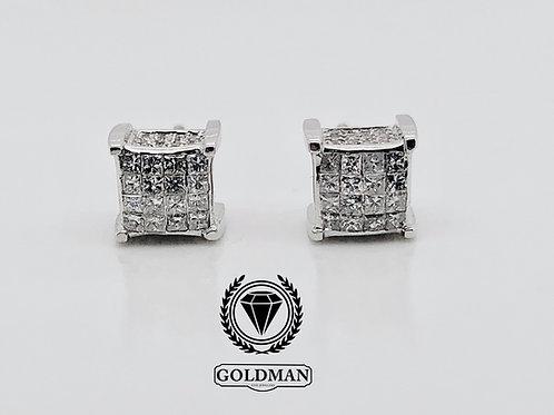 14K WHITE GOLD 0.85CT DIAMOND STUDS