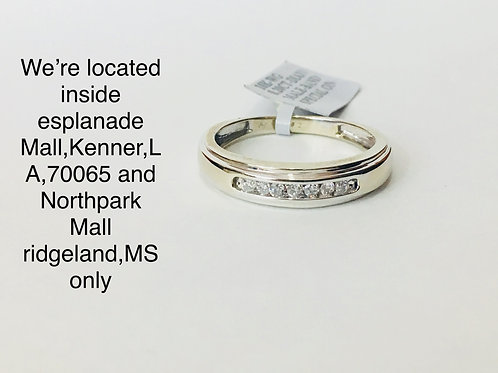 10K WHITE GOLD WITH 0.20CT DIAMOND MALE BAND