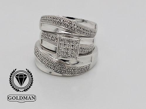 10K WHITE GOLD 0.34CT DIAMOND TRIO SET